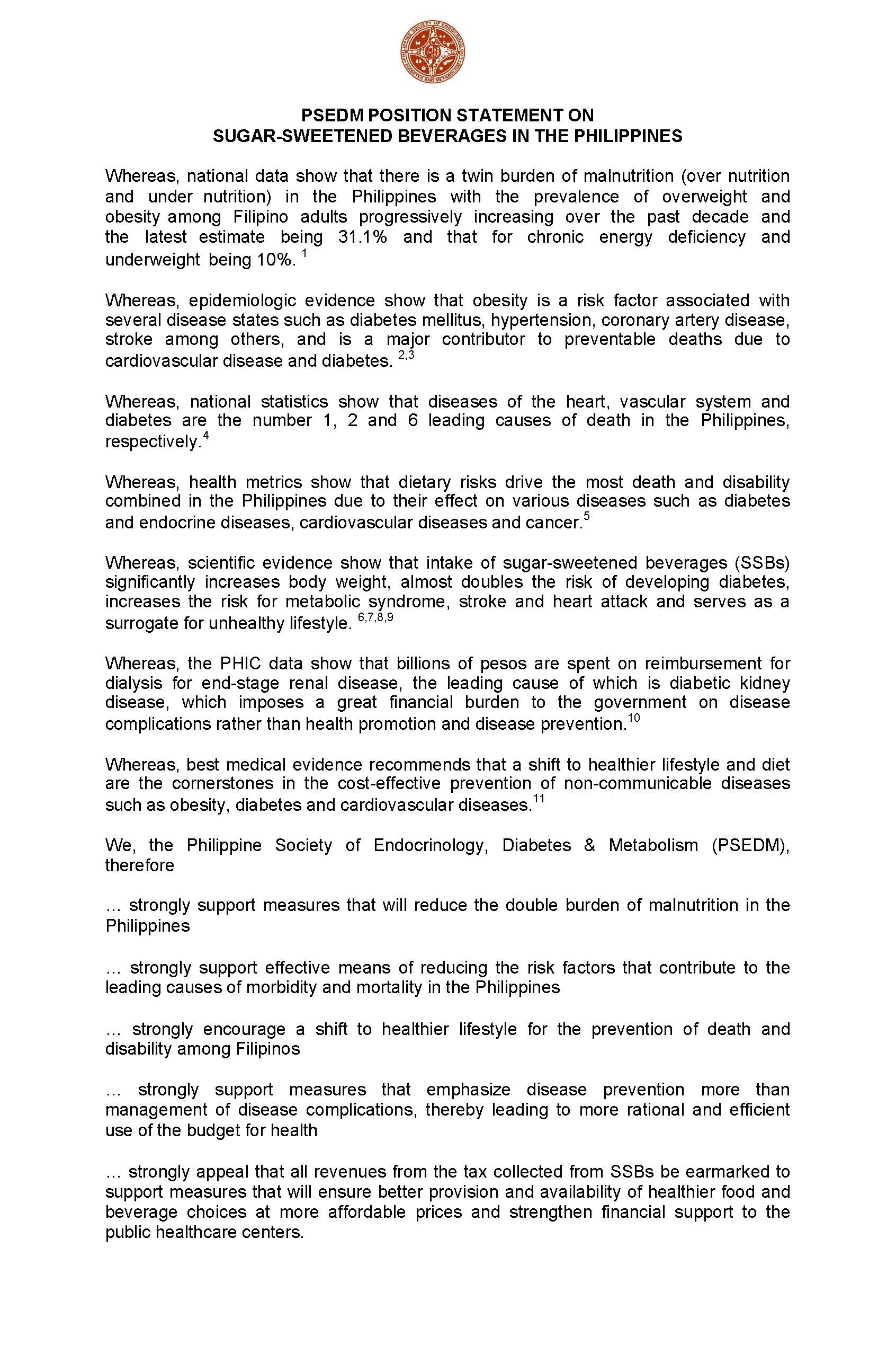 20171016 PSEDM FINAL Position Statement on SSB Page 1
