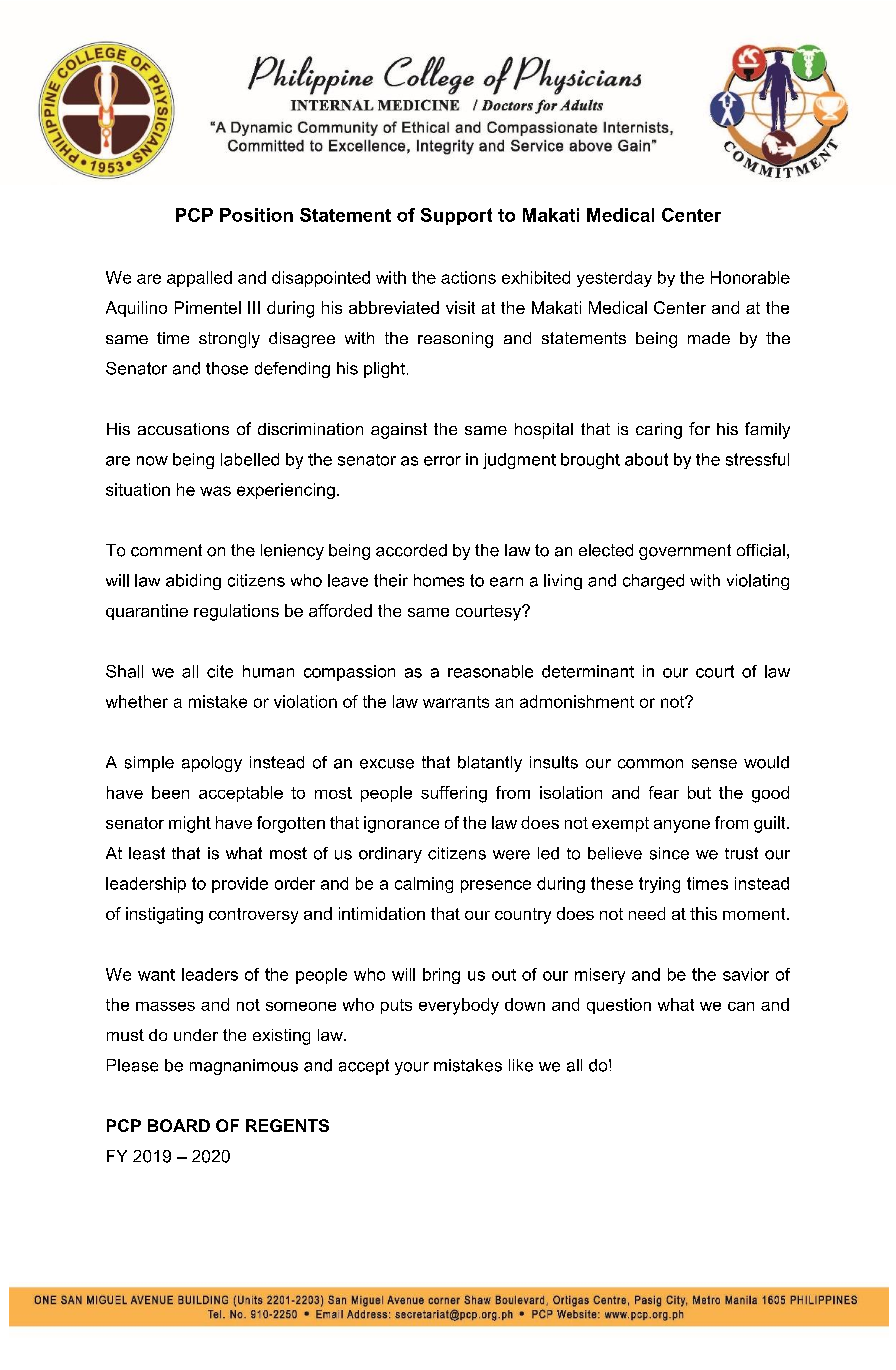 PCP position statement MMC 26 March 2020