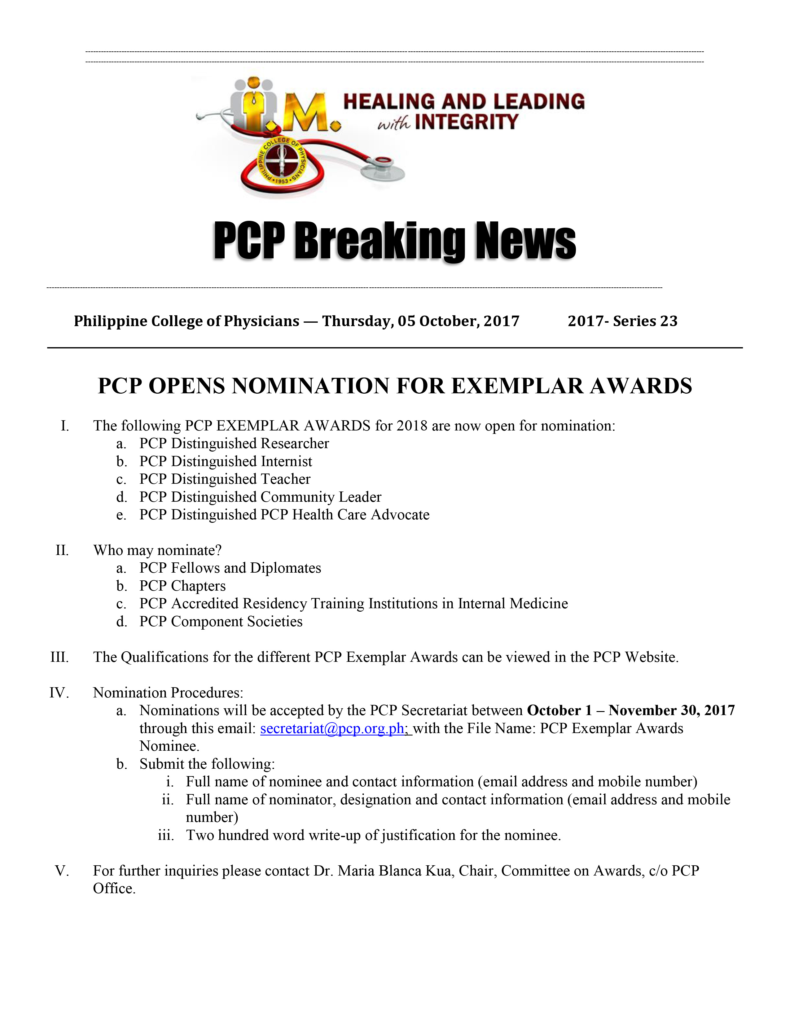 23rd PCP Breaking News CommAwards 10042017