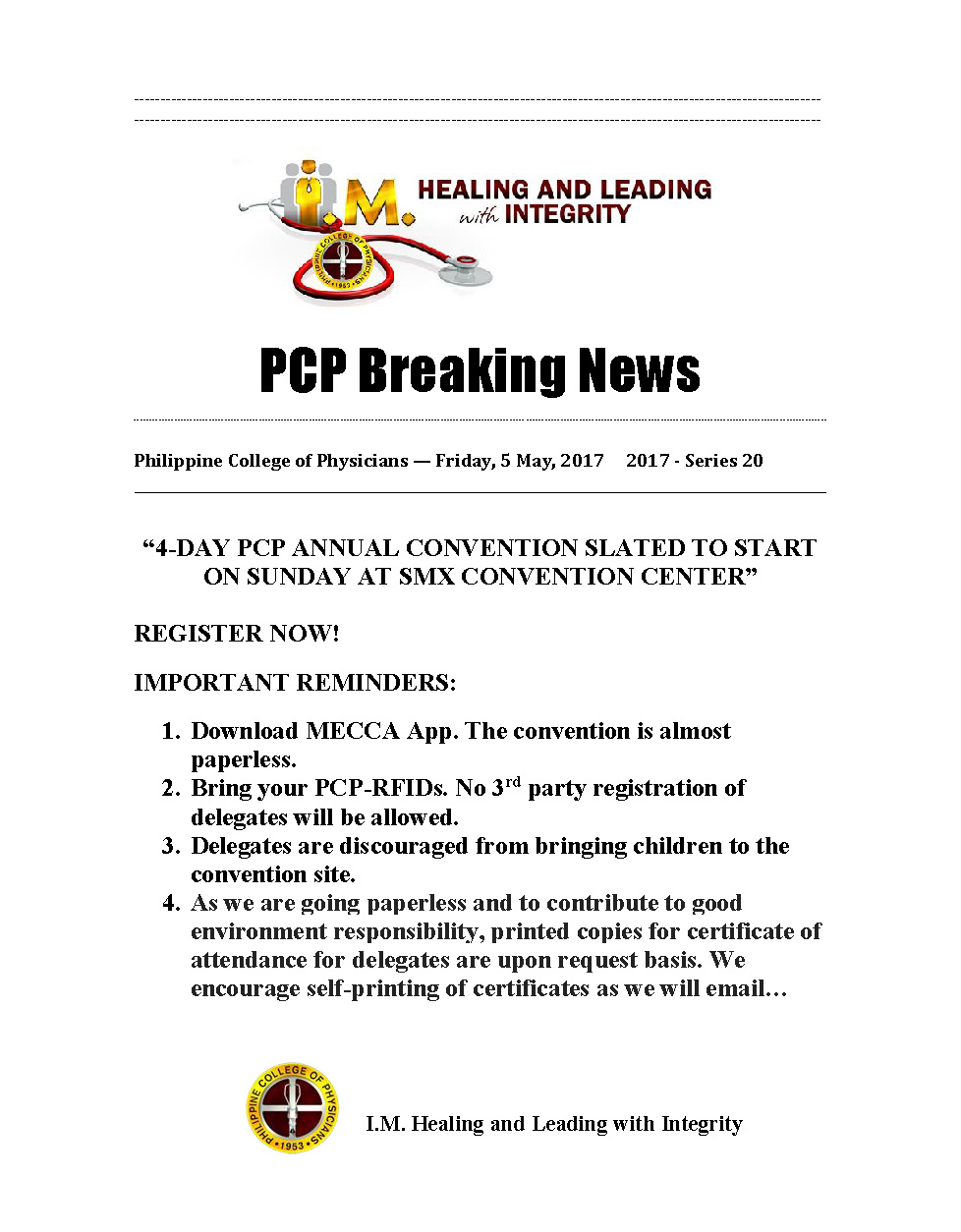 PCP Breaking News 20th 05052017 Page 1