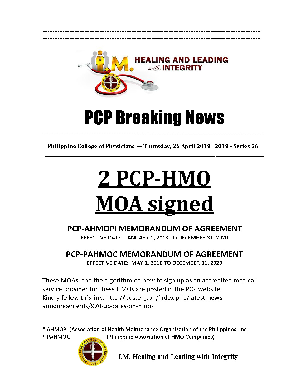 36th PCP Breaking News PCP signed 2 MOA