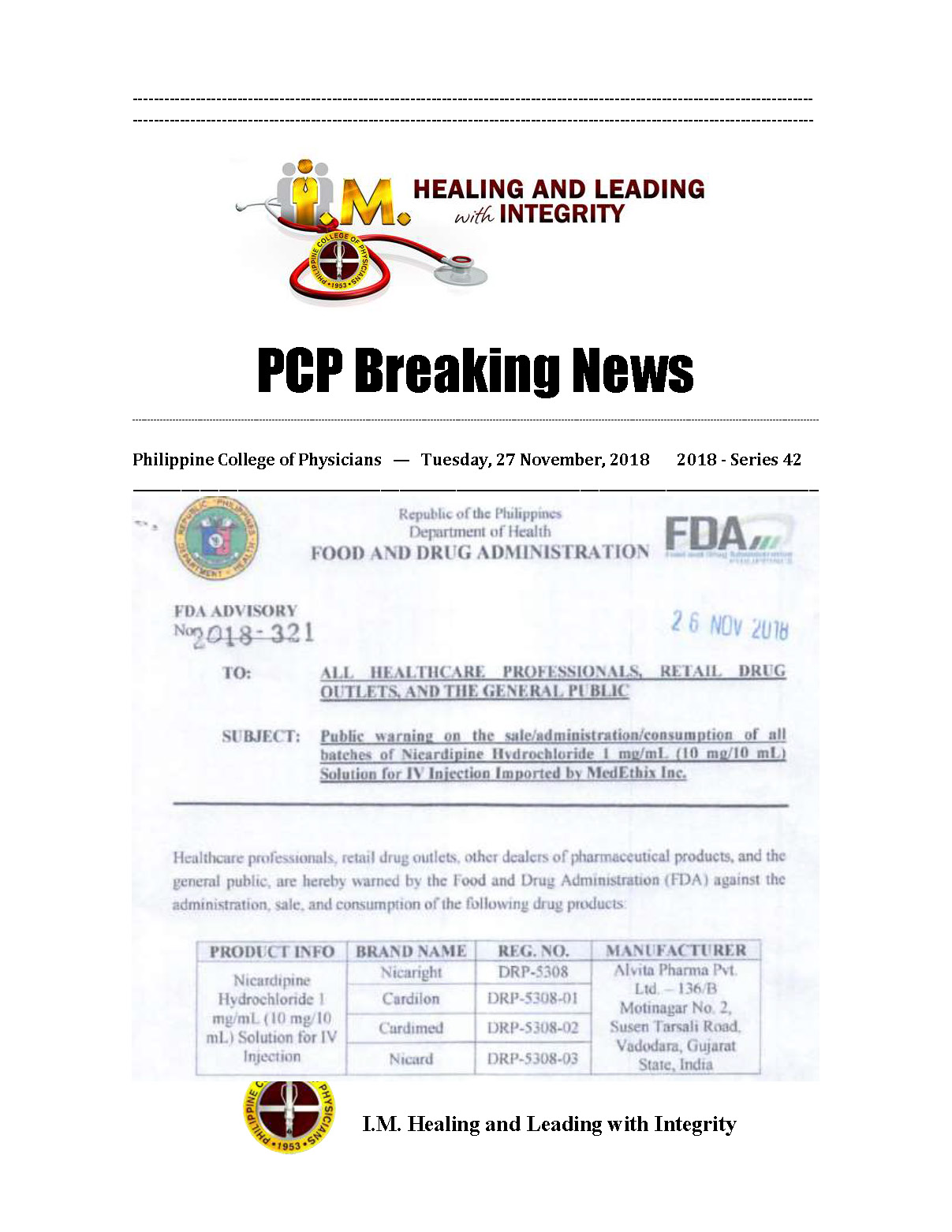 42nd PCP Breaking News FDA 2018 321 Page 1