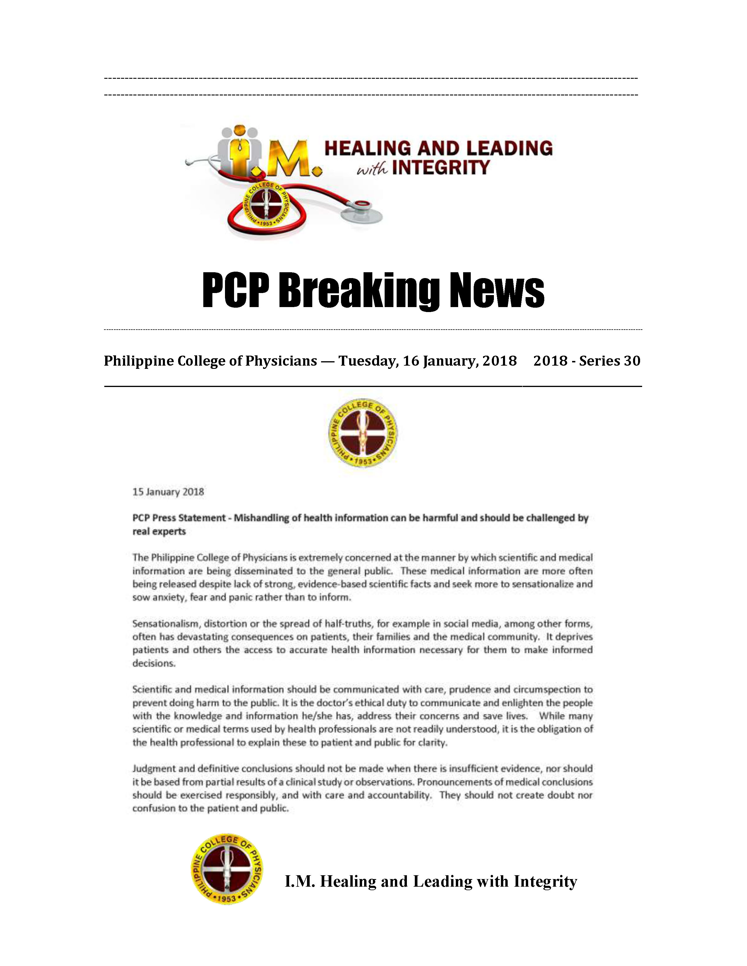 PCP Breaking News 2018 Series 30 Page 1