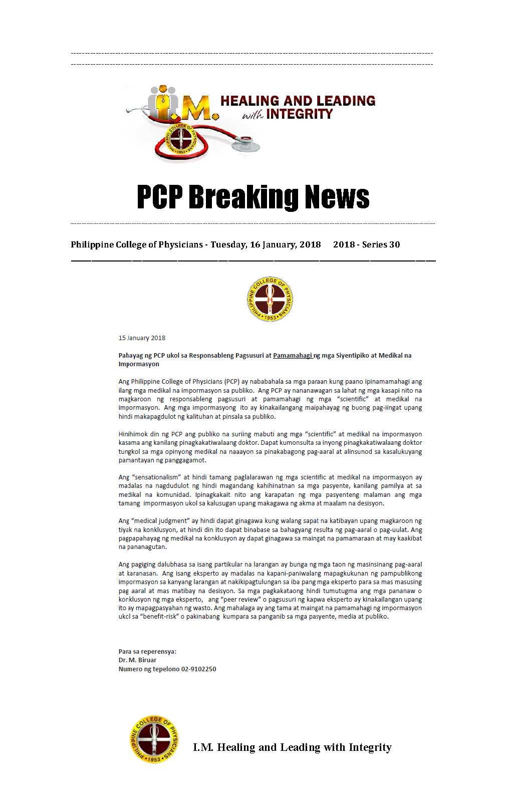 PCP Breaking News PCP Statement tagalog