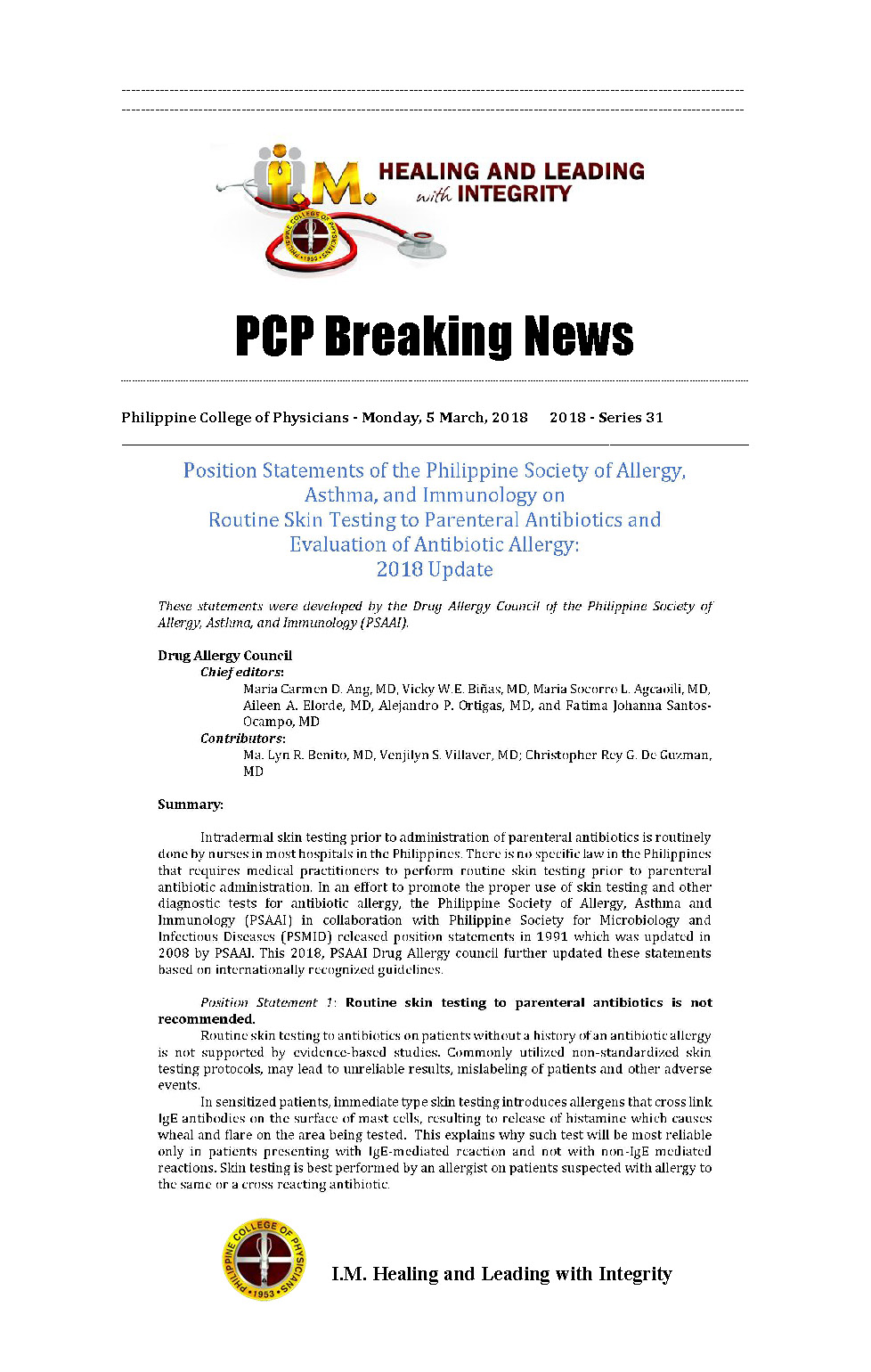PCP Breaking News Position Statement of PSAAI Page 1