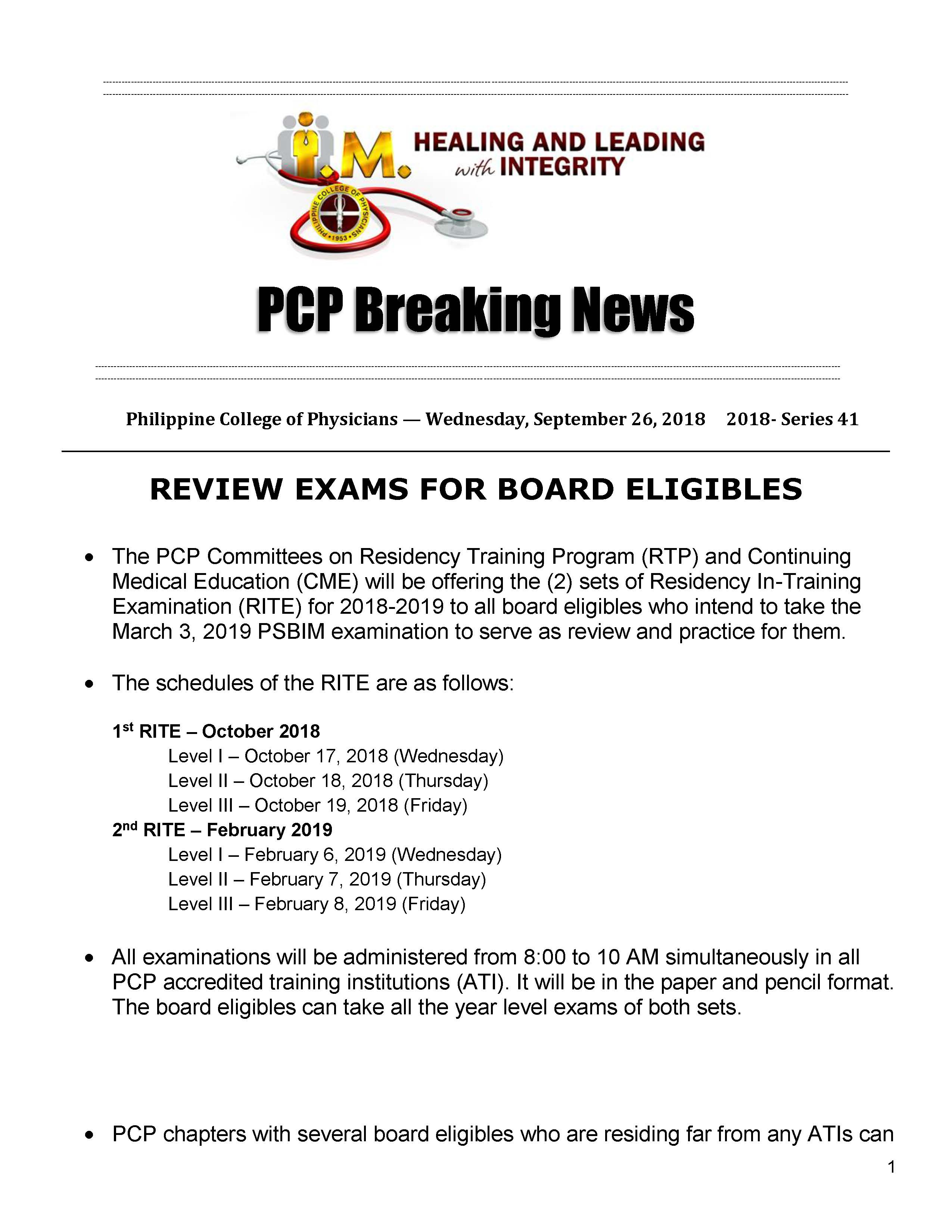 PCP Breaking News for Board Eligibles Page 1
