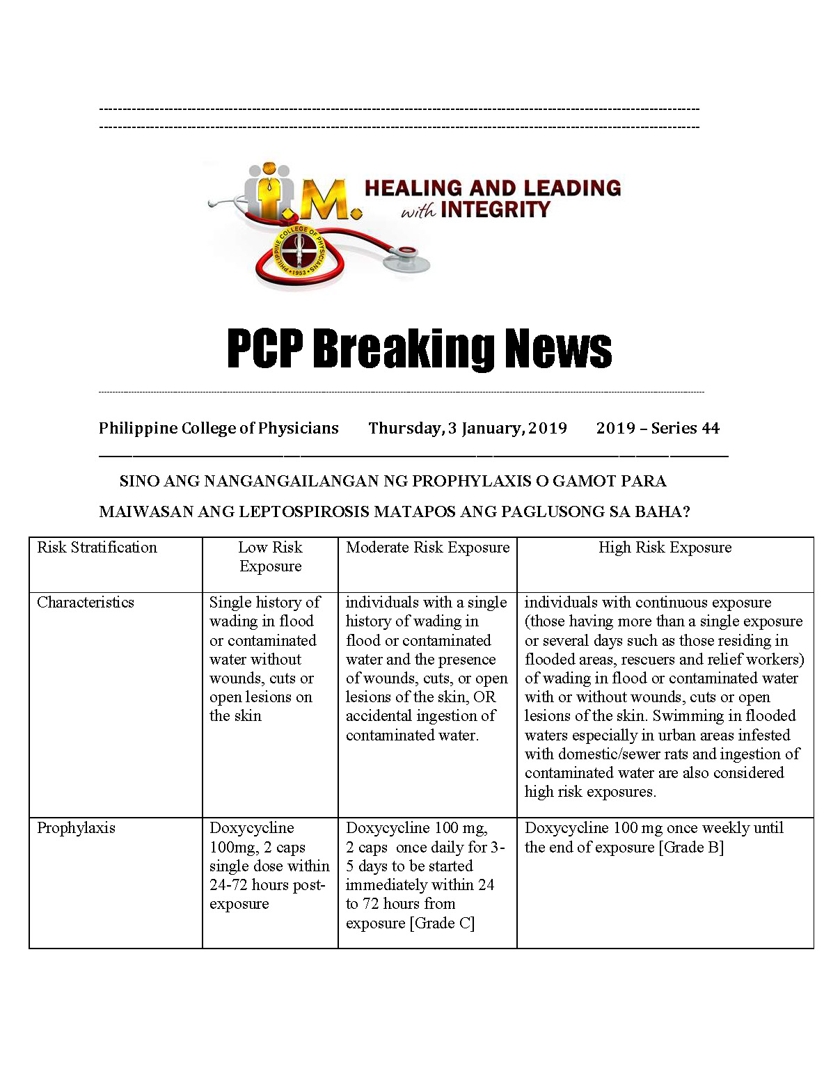44th PCP Breaking News Leptospirosis FAQs Page 1