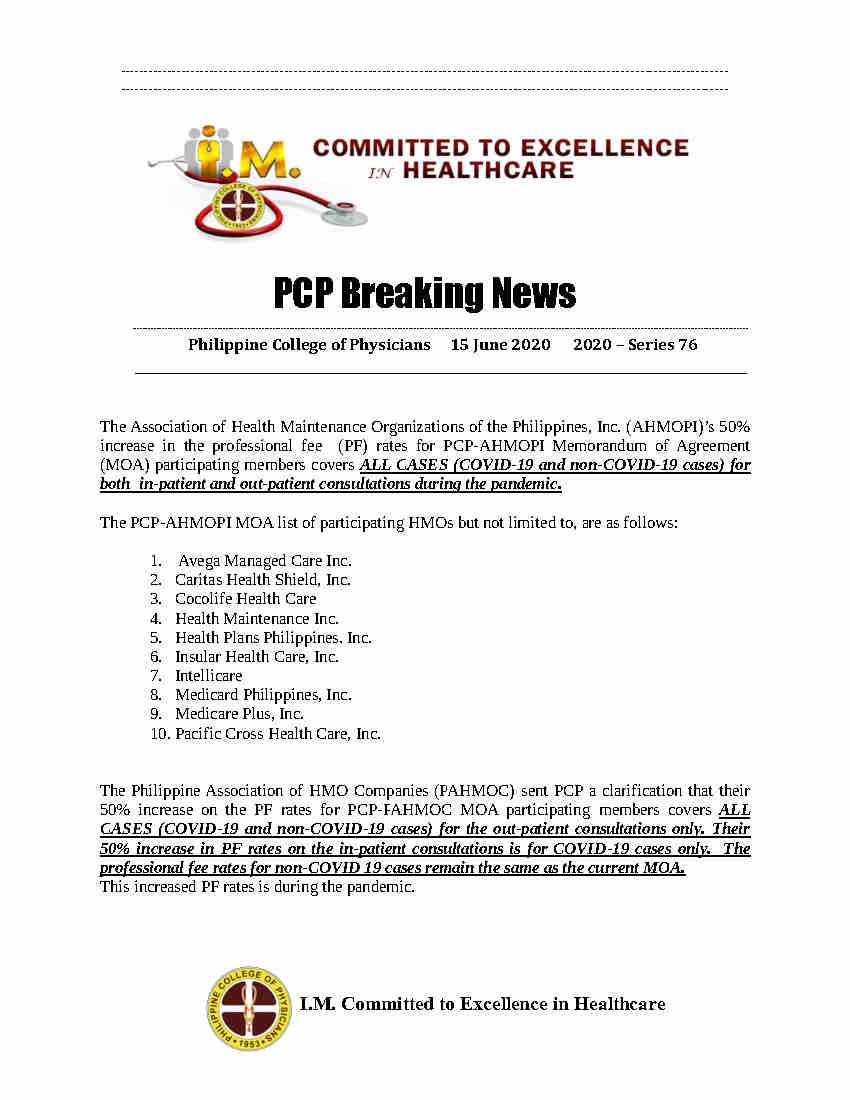 PCP Breaking News 76 AHMOPI and PAHMOC PF Rates during COVID 19 pandemic Page1