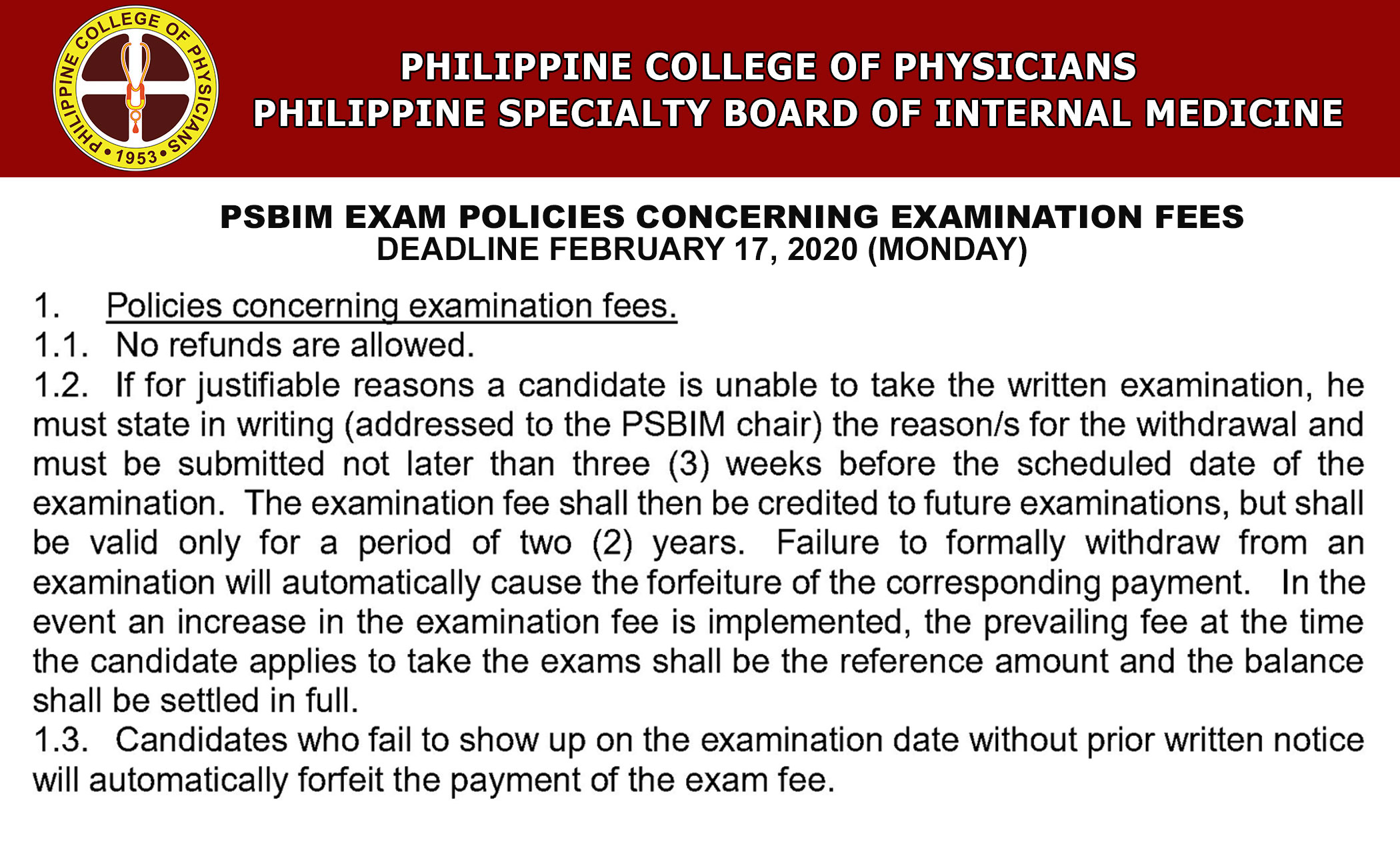 Psbim-exam-policies-concerning-examination-fees